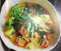 Vegetables in saffron, chilli & coconut broth