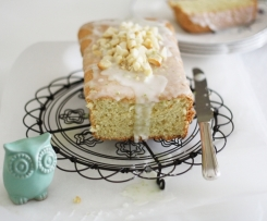 Lime, coconut and macadamia cake with a lime glaze.