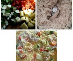 Shredded chicken and vegetable soup