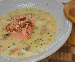seafood & corn chowder with curried choux dunkers