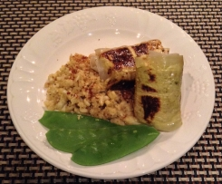 "Pork and chicken Pesto Parcels with Cauliflower ""Rice"" and steamed Snow Peas"