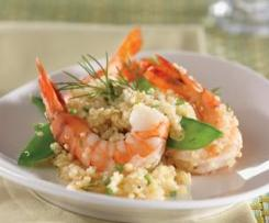 Creamy Prawn Risotto with Lemon, Garlic & Snowpeas