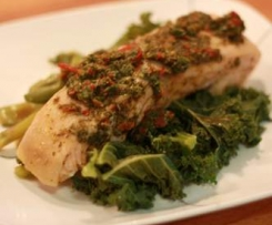 Steamed Salmon with Mint, Garlic, Basil and lemon
