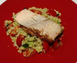 Balsamic Salmon with Quinoa Tabouli