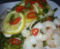 Steamed Fish with Vegetables, Chili, Lemon and a Basil Vinaigrette