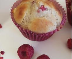 banana, raspberry and white chocolate muffins