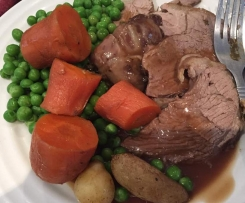 "Lamb ""Roast"" with Vegetables and Gravy"
