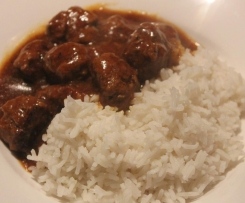 Curried Meatballs and rice