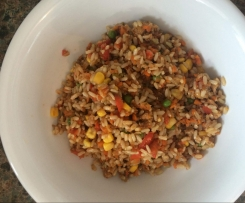 Healthy brown asian fried tuna rice