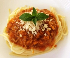 Spaghetti Bolognese (mince cooked in steaming basket)