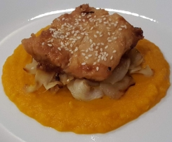 Miso Cod with Caramelized Zucchini and Cinnamon Pumpkin Carrot Puree