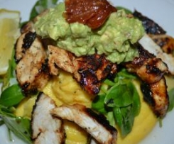 Cajun Chicken with Truffled Polenta and Guacamole