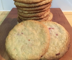 White Chocolate, Macadamia and Raspberry Biscuits