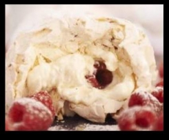 Raspberry and White Chocolate Meringue Roulade