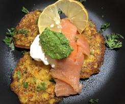 Vegetable Rosti stack with sour cream, smoked salmon and basil pesto