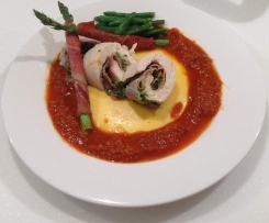 Chicken Involtini with Tomato Sauce, Creamy Polenta and Garlic Beans (Meal)