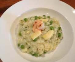 Prawn & Pea Risotto with Lemon Infused EVOO and Aged Cheddar