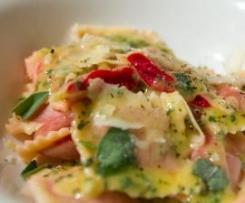 Roast beetroot ravioli with sage butter sauce