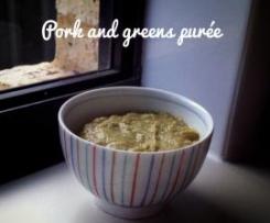 Pork and greens purée