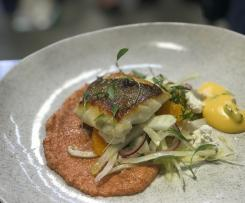 Roasted snapper with Romesco, pickled vegetable and ricotta salad and a pink grapefruit Hollandaise - Mark Southon