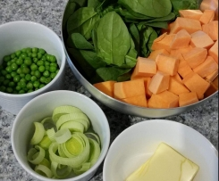 Baby Puree - Sweet potato with Spinach and Peas