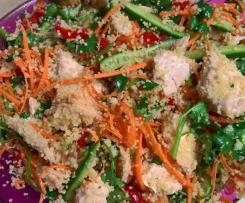 Salmon and couscous salad with lemon dressing