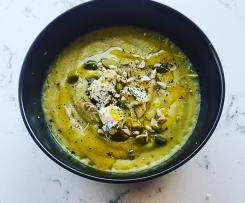 Broccoli and Lemon Soup topped with Goats Feta and Seeds