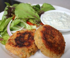 Salmon and rice patties