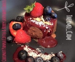 Chocolate Coconut Panna Cotta & Lavender Berry Coulis