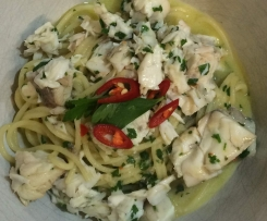 Bill Granger's Spaghettini with Fish, Chilli and Parsely