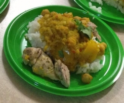 Yellow curry chicken - complete meal in 2 stages