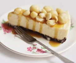 White Chocolate Cheesecake with Macadamias and Caramel Sauce