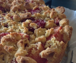 Streusel Cake with Custard and Plums