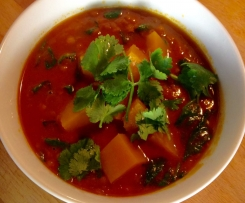 Spicy Pumpkin, Coconut and Lentil Soup - RECIPE COURTESY OF 28bysamwood.com