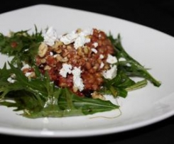 Beetroot Barley Risotto with Goats Curd