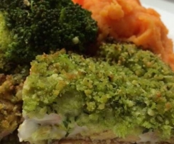 Pesto Salmon with mash and veg