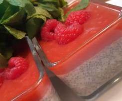 Chia Pudding with raspberry coulis