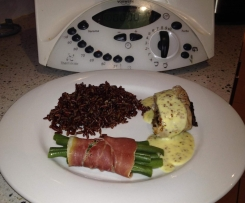 Pork Tenderloins Stuffed with Dried Prunes with Red Rice and Green bean bundles