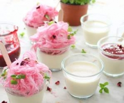 Vanilla bean panna cotta with raspberry rosewater coulis