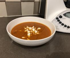 Roasted Capsicum and Tomato soup with Goats Cheese