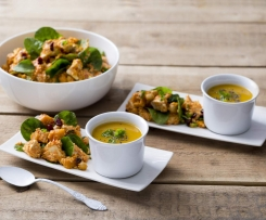 Moroccan chicken and couscous salad with sweet potato soup