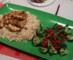 Asian Chicken Invention with rice and veg