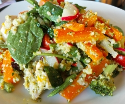 Hunters Warm Chicken and Cous Cous salad with Basil Pesto Dressing