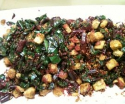Sautéed Beets with Garlic and Anchovy Croutons‏
