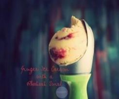 Ginger Ice Cream with a Rhubarb Swirl
