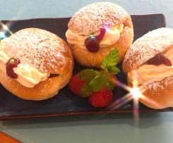 Old fashioned cream buns with mock cream filling