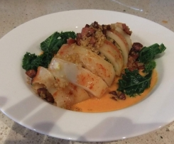 Prawn and Quinoa Stuffed Squid Tubes with Prawn Bisque