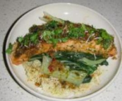 Asian Salmon with Buk Choy and Coconut Rice