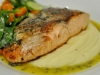 Steamed/Fried Salmon on Mash with Salad
