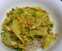 Curried Chicken or Prawns